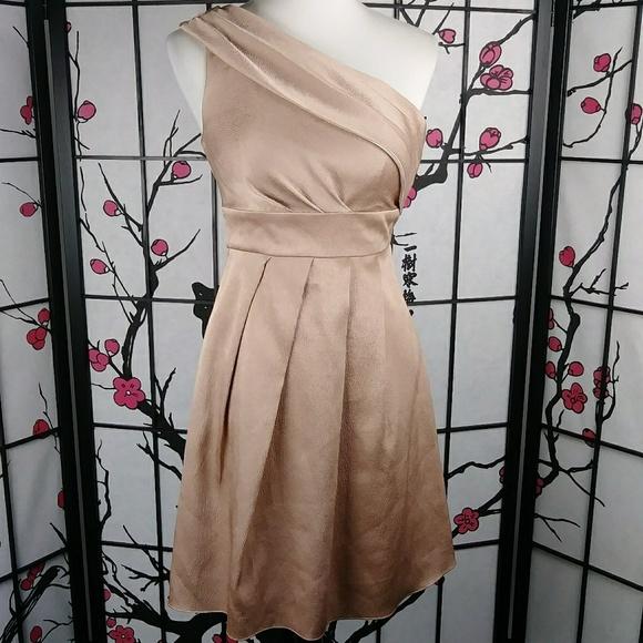 Jenny Yoo Dresses & Skirts - Jenny Yoo Rose Gold Textured One Shoulder Dress